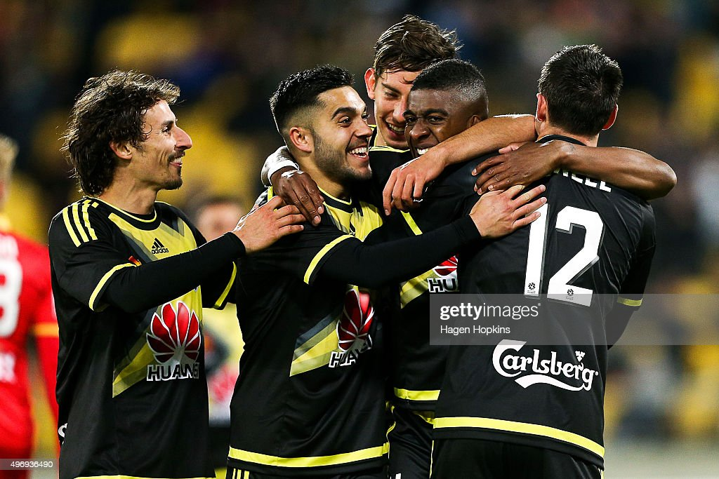 L to R Albert Riera Justin Gulley Alex Rodriguez Roly Bonevacia and Blake Powell of the Phoenix celebrate Bonevacia's goal during the round six...