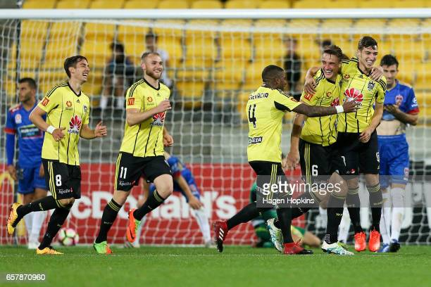 L to R Alex Rodriguez Dylan Fox Roly Bonevacia Dylan Fox and Matthew Ridenton of the Phoenix celebrate Ridenton's goal during the round 24 ALeague...