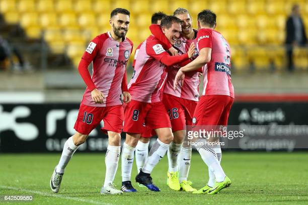 L to R Anthony Caceres Joshua Rose Neil Kilkenny and Luke Brattan of Melbourne City celebrate Kilkenny's first ALeague goal during the round 20...