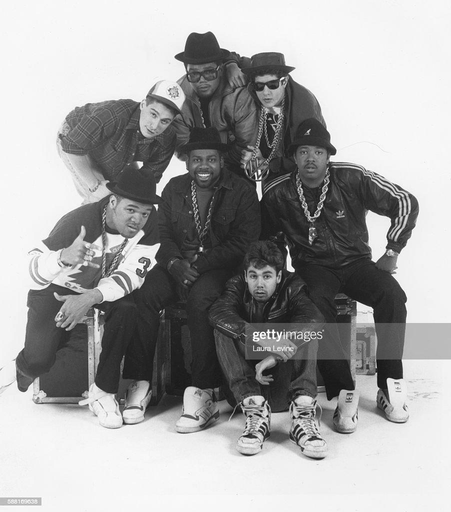 Ad-Rock, DMC, Mike D; Center: DJ Hurricane, Run, Jam Master Jay; Front: MCA.