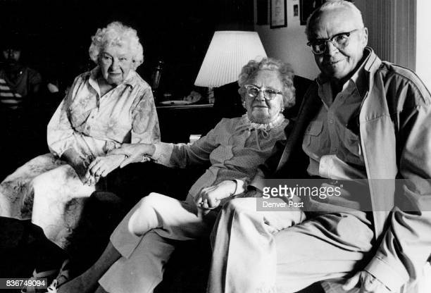 Bertha Brooks Helen Woodman and CB Woodman all of Denver take a break near the end of the reunion The Woodmans have been married and living in Denver...