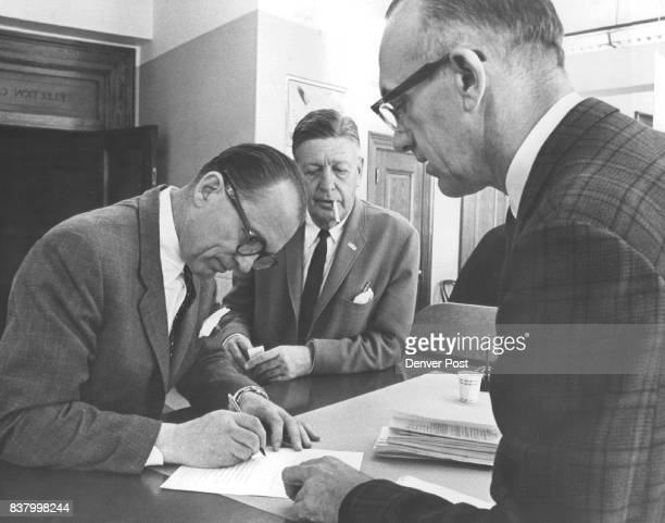 L to R Bill Grant Ted Chaffee chairman grant for Mayor Committee Joe Meyer Election Commission Ses Credit Denver Post