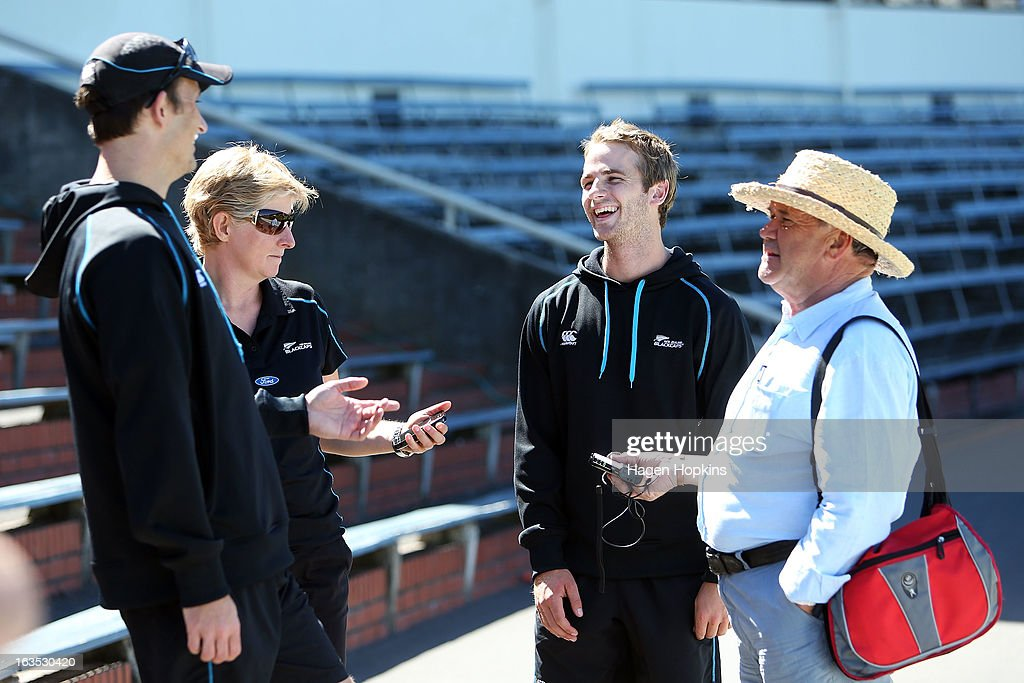 L to R, Bowling coach Shane Bond, communications manager Joanne Perry, Kane Williamson and sports broadcaster Bryan Waddle enjoy a laugh during a New Zealand training session at Basin Reserve on March 12, 2013 in Wellington, New Zealand.