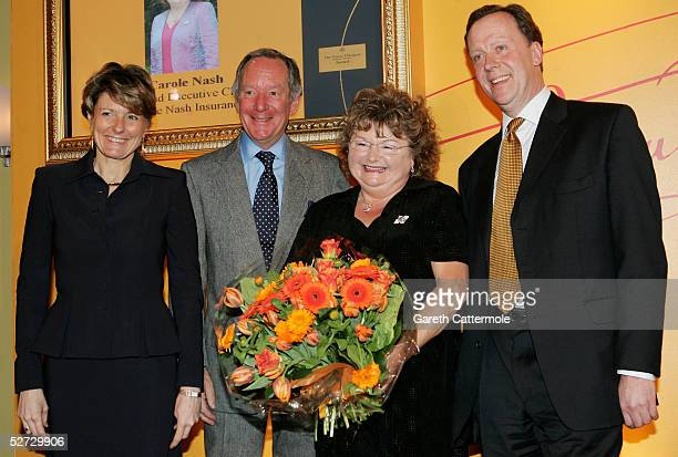 L to R Cecile Bonnetond Michael Beurk Carole Nash and John West are pictured together after Carole was presented with flowers after making it through...