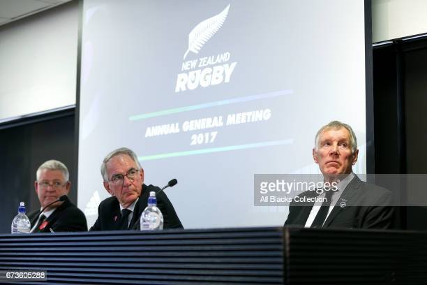 L to R CEO Steve Tew Chairman Brent Impey and newly elected President Maurice Trapp look on during the New Zealand Rugby Union Annual General Meeting...