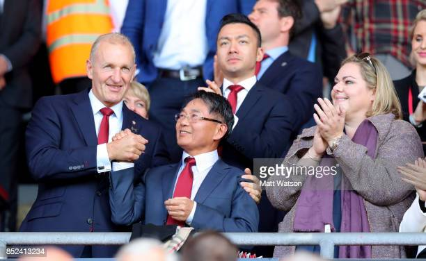 L to R Chairman of Southampton Ralph Kruger with owners Mr Gao amd Katharina Liebherr during the Premier League match between Southampton and...