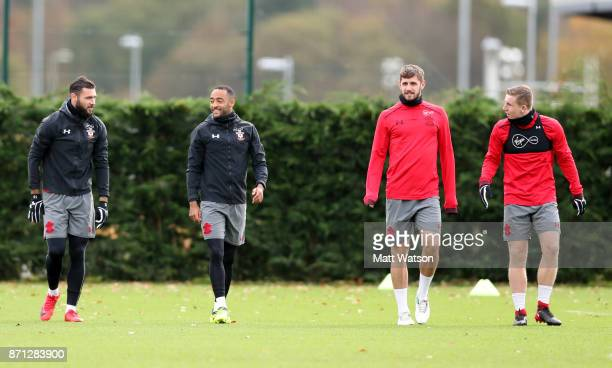 L to R Charlie Austin Nathan Redmond Jack Stephens and Matt Targett during a Southampton FC training session at the Staplewood Campus on November 7...