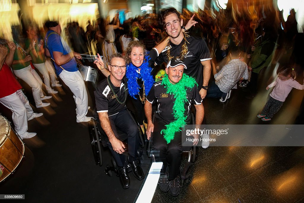L to R, Chef de Mission Ben Lucas along with Paralympians Kate Horan, Chris Sharp and Liam Malone pose during Paralympics New Zealand's '100 Days To Go' event at Te Papa Museum on May 30, 2016 in Wellington, New Zealand.