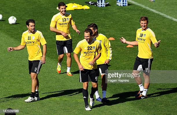 L to R Daniel Nik Tsattalios Andrew Durante and Ben Sigmund enjoy a laugh during a Wellington Phoenix ALeague training session at Westpac Stadium on...