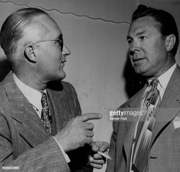 L to R Danny Garrett Ward Egbert Denny Garrett sales manager with Standard Oil in Denver and Ward Egbert assistant general manager of the Rocky...