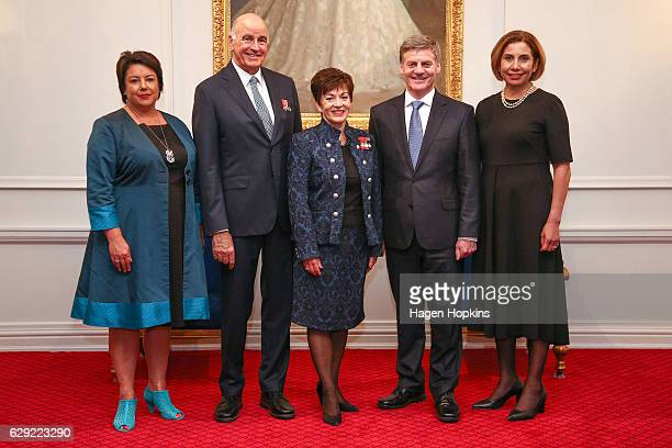 L to R Deputy Prime Minister Paula Bennett Sir David Gascoigne GovernorGeneral Dame Patsy Reddy Prime Minister Bill English and wife Mary pose during...