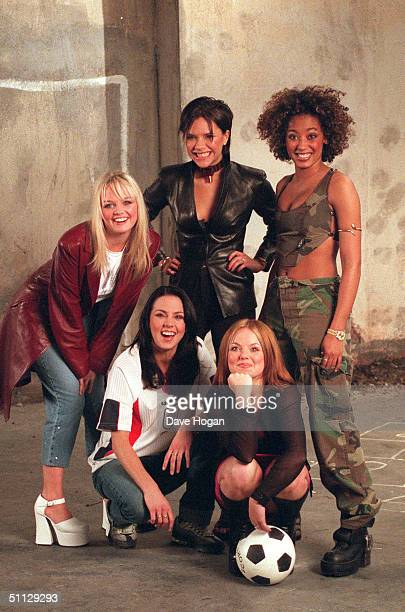 L to R Emma Bunton Melanie Chisholm Victoria Adams Geri Halliwell and Melanie Brown from The Spice Girls film the Euro 96 theme song video