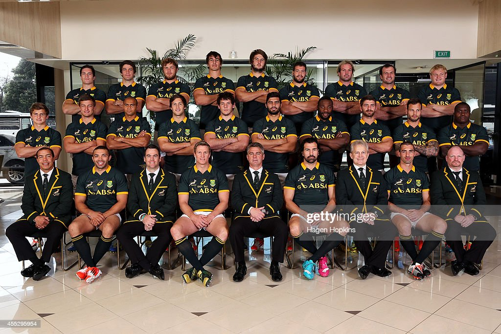 Assistant coach Ricardo Loubscher, <a gi-track='captionPersonalityLinkClicked' href=/galleries/search?phrase=Bryan+Habana&family=editorial&specificpeople=221391 ng-click='$event.stopPropagation()'>Bryan Habana</a>, assistant coach <a gi-track='captionPersonalityLinkClicked' href=/galleries/search?phrase=Johann+van+Graan&family=editorial&specificpeople=8821073 ng-click='$event.stopPropagation()'>Johann van Graan</a>, <a gi-track='captionPersonalityLinkClicked' href=/galleries/search?phrase=Jean+de+Villiers&family=editorial&specificpeople=2285701 ng-click='$event.stopPropagation()'>Jean de Villiers</a>, coach <a gi-track='captionPersonalityLinkClicked' href=/galleries/search?phrase=Heyneke+Meyer&family=editorial&specificpeople=630057 ng-click='$event.stopPropagation()'>Heyneke Meyer</a>, <a gi-track='captionPersonalityLinkClicked' href=/galleries/search?phrase=Victor+Matfield&family=editorial&specificpeople=227167 ng-click='$event.stopPropagation()'>Victor Matfield</a>, team manager Ian Schwartz, <a gi-track='captionPersonalityLinkClicked' href=/galleries/search?phrase=Ruan+Pienaar&family=editorial&specificpeople=591032 ng-click='$event.stopPropagation()'>Ruan Pienaar</a>, assistant coach John McFarland. Middle: <a gi-track='captionPersonalityLinkClicked' href=/galleries/search?phrase=Patrick+Lambie&family=editorial&specificpeople=6849711 ng-click='$event.stopPropagation()'>Patrick Lambie</a>, Handre Pollard, Cornal Hendricks, <a gi-track='captionPersonalityLinkClicked' href=/galleries/search?phrase=Jan+Serfontein&family=editorial&specificpeople=9454171 ng-click='$event.stopPropagation()'>Jan Serfontein</a>, <a gi-track='captionPersonalityLinkClicked' href=/galleries/search?phrase=Marcell+Coetzee&family=editorial&specificpeople=7755005 ng-click='$event.stopPropagation()'>Marcell Coetzee</a>, <a gi-track='captionPersonalityLinkClicked' href=/galleries/search?phrase=Damian+de+Allende&family=editorial&specificpeople=9897323 ng-click='$event.stopPropagation()'>Damian de Allende</a>, <a gi-track='captionPersonalityLinkClicked' href=/galleries/search?phrase=Tendai+Mtawarira&family=editorial&specificpeople=4237519 ng-click='$event.stopPropagation()'>Tendai Mtawarira</a>, Willie le Roux, <a gi-track='captionPersonalityLinkClicked' href=/galleries/search?phrase=Francois+Hougaard&family=editorial&specificpeople=4229504 ng-click='$event.stopPropagation()'>Francois Hougaard</a>, <a gi-track='captionPersonalityLinkClicked' href=/galleries/search?phrase=Trevor+Nyakane&family=editorial&specificpeople=9092540 ng-click='$event.stopPropagation()'>Trevor Nyakane</a>. Back: <a gi-track='captionPersonalityLinkClicked' href=/galleries/search?phrase=Francois+Louw&family=editorial&specificpeople=4389467 ng-click='$event.stopPropagation()'>Francois Louw</a>, Warren Whiteley, <a gi-track='captionPersonalityLinkClicked' href=/galleries/search?phrase=Duane+Vermeulen&family=editorial&specificpeople=4511227 ng-click='$event.stopPropagation()'>Duane Vermeulen</a>, <a gi-track='captionPersonalityLinkClicked' href=/galleries/search?phrase=Eben+Etzebeth&family=editorial&specificpeople=7852672 ng-click='$event.stopPropagation()'>Eben Etzebeth</a>, <a gi-track='captionPersonalityLinkClicked' href=/galleries/search?phrase=Lood+de+Jager&family=editorial&specificpeople=10635093 ng-click='$event.stopPropagation()'>Lood de Jager</a>, Marcel van der Merwe, Jannie du Plessis, <a gi-track='captionPersonalityLinkClicked' href=/galleries/search?phrase=Bismarck+du+Plessis&family=editorial&specificpeople=636411 ng-click='$event.stopPropagation()'>Bismarck du Plessis</a>, <a gi-track='captionPersonalityLinkClicked' href=/galleries/search?phrase=Adriaan+Strauss&family=editorial&specificpeople=675792 ng-click='$event.stopPropagation()'>Adriaan Strauss</a> during a South Africa Springboks Captain's Run on September 12, 2014 in Wellington, New Zealand.