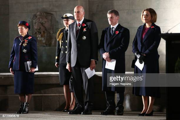 L to R GovernorGeneral Dame Patsy Reddy with husband Sir David Gascoigne Prime Minister Bill English and wife Mary look on during Anzac Day dawn...