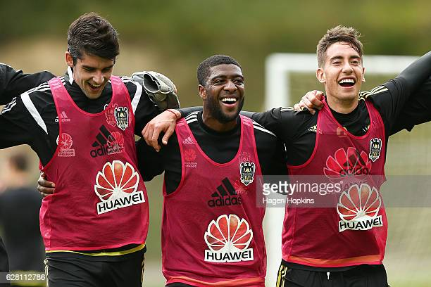 L to R Gui Finkler Roly Bonevacia and Alex Rodriguez enjoy a laugh during a Wellington Phoenix ALeague training session at Newtown Park on December 7...