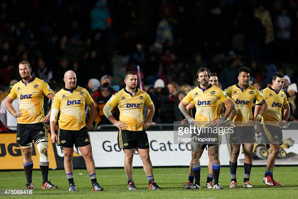 L to R James Broadhurst Ben Franks Dane Coles Conrad Smith TJ Perenara Ardie Savea and James Marshall of the Hurricanes look on in disappointment...