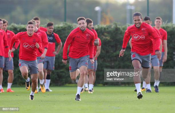 L to R Jeremy Pied Sam McQueen and Virgil Van Dijk during a Southampton FC training session at the Staplewood Campus on September 28 2017 in...