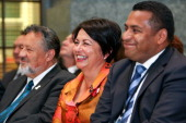 L to R Maori Party coleader Pita Sharples Education Minister Hekia Parata and Labour MP Kris Faafoi look on during the Pacific Parliamentary and...