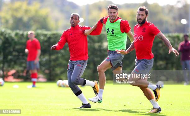 L to R Mario Lemina Wesley Hoedt and Charlie Austin during a Southampton FC training session at the Staplewood Campus on September 28 2017 in...