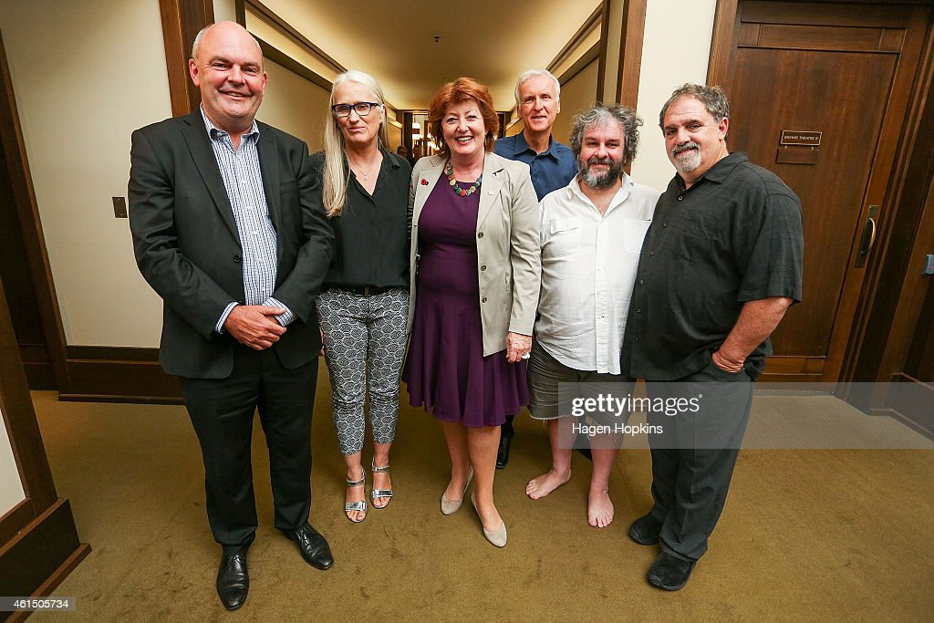 L to R, Minister for Economic Development, Steven Joyce, <a gi-track='captionPersonalityLinkClicked' href=/galleries/search?phrase=Jane+Campion&family=editorial&specificpeople=616530 ng-click='$event.stopPropagation()'>Jane Campion</a>, Minister for Arts, Culture and Heritage Maggie Barry, <a gi-track='captionPersonalityLinkClicked' href=/galleries/search?phrase=James+Cameron&family=editorial&specificpeople=206399 ng-click='$event.stopPropagation()'>James Cameron</a>, Sir <a gi-track='captionPersonalityLinkClicked' href=/galleries/search?phrase=Peter+Jackson+-+Filmmaker&family=editorial&specificpeople=203018 ng-click='$event.stopPropagation()'>Peter Jackson</a> and Jon Landau pose during the screen advisory board inaugural meeting at Park Road Post Production offices on January 14, 2015 in Wellington, New Zealand. Formed in 2013, the Screen Advisory Board aims to help the New Zealand screen sector create skills and connections to compete on the international stage and attract overseas finance.