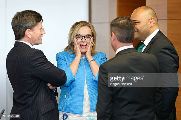 L to R Ministers Christopher Finlayson Judith Collins Michael Woodhouse and Peseta Sam LotuIiga enjoy a laugh during a ceremony at The Beehive on...