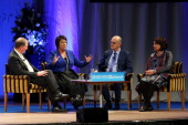 L to R Ministers Nick Smith Paula Bennett Tony Ryall and Hekia Parata make a presentation during the National Party Annual Conference at Michael...