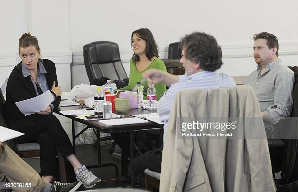 L to R Moira Driscoll Tess Van Horn Director Andrew Harris and Mark Honan work together during a rehearsal of The Little Festival of the Unexpected...