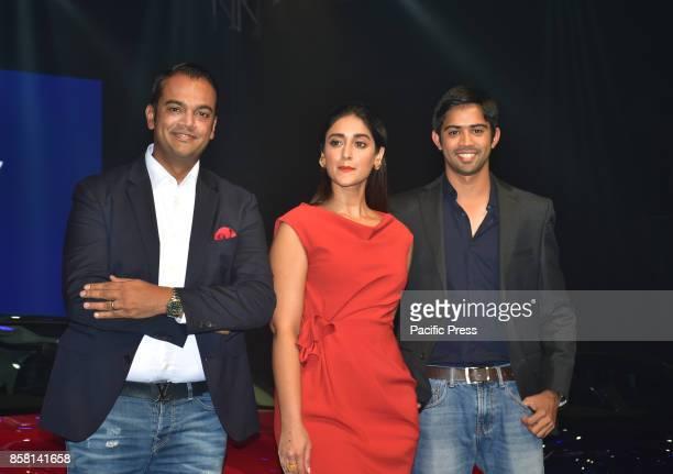 L to R Mr Rahil Ansari Bollywood actress Ileana D'Cruz and Mr Aditya Patel present at the launch of new Audi A5 seriesin India at hotel Sofitel...