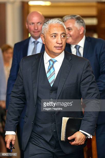 L to R New ministers David Bennett Alfred Ngaro and Mark Mitchell make an exit after being sworn in during a ceremony at Government House on December...