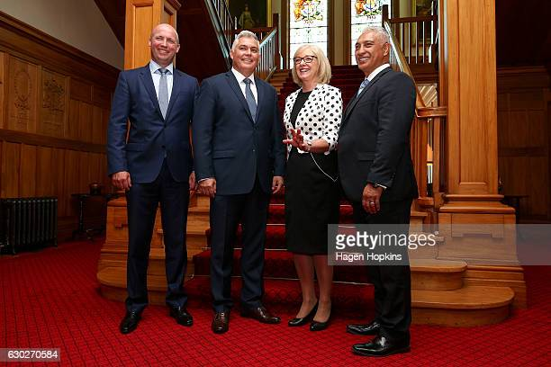 L to R New ministers David Bennett Mark Mitchell Jacqui Dean and Alfred Ngaro pose after being sworn in during a ceremony at Government House on...