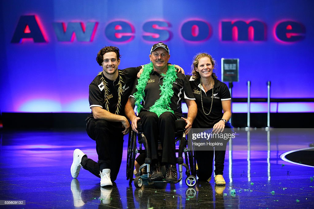 L to R, Paralympic athletes Liam Malone, Chris Sharp and Kate Horan pose during Paralympics New Zealand's '100 Days To Go' event at Te Papa Museum on May 30, 2016 in Wellington, New Zealand.