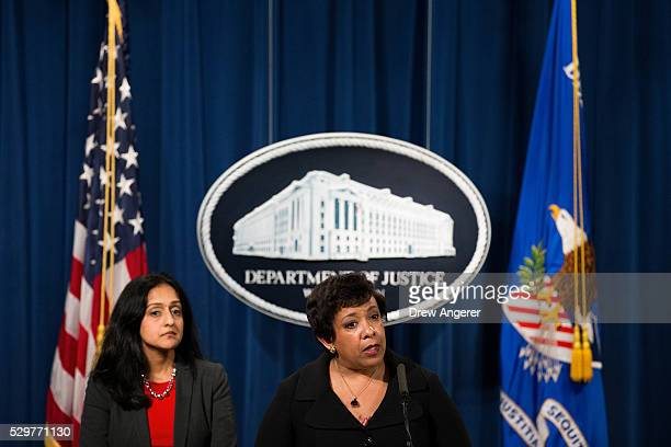 L to R Principal Deputy Assistant Attorney General Vanita Gupta head of the Justice Department��s Civil Rights Division looks on as US Attorney...