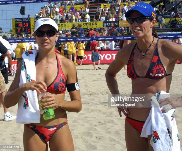 L to R Rachel Wacholder Elaine Youngs celebrate victory over No 1 seeded Misty MayTreanor Kerri Walsh in the Hermosa Beach open Final