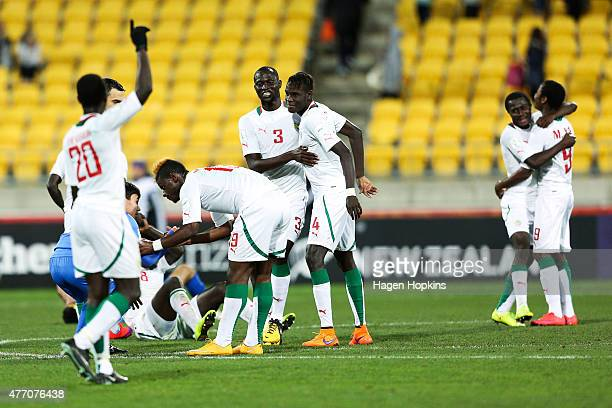 L to R Remi Nassalan Mamadou Thiam Andelinou Correa Mouhameth Sane Moussa Wague and Moussa Ba of Senegal celebrate the win at the final whistle...