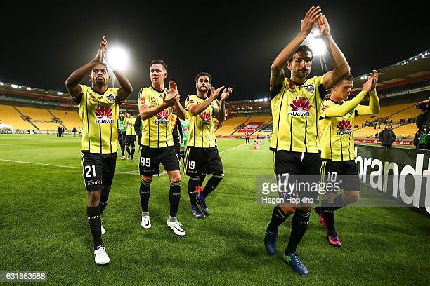 L to R Roy Krishna Shane Smeltz Tom Doyle Vince Lia and Michael McGlinchey of the Phoenix applaud the crowd as they leave the pitch after the round...