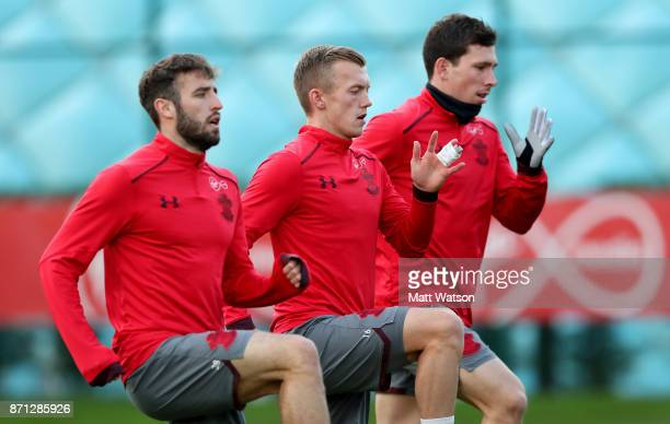 L to R Sam McQueen James WardProwse and PierreEmile Hojbjerg during a Southampton FC training session at the Staplewood Campus on November 7 2017 in...