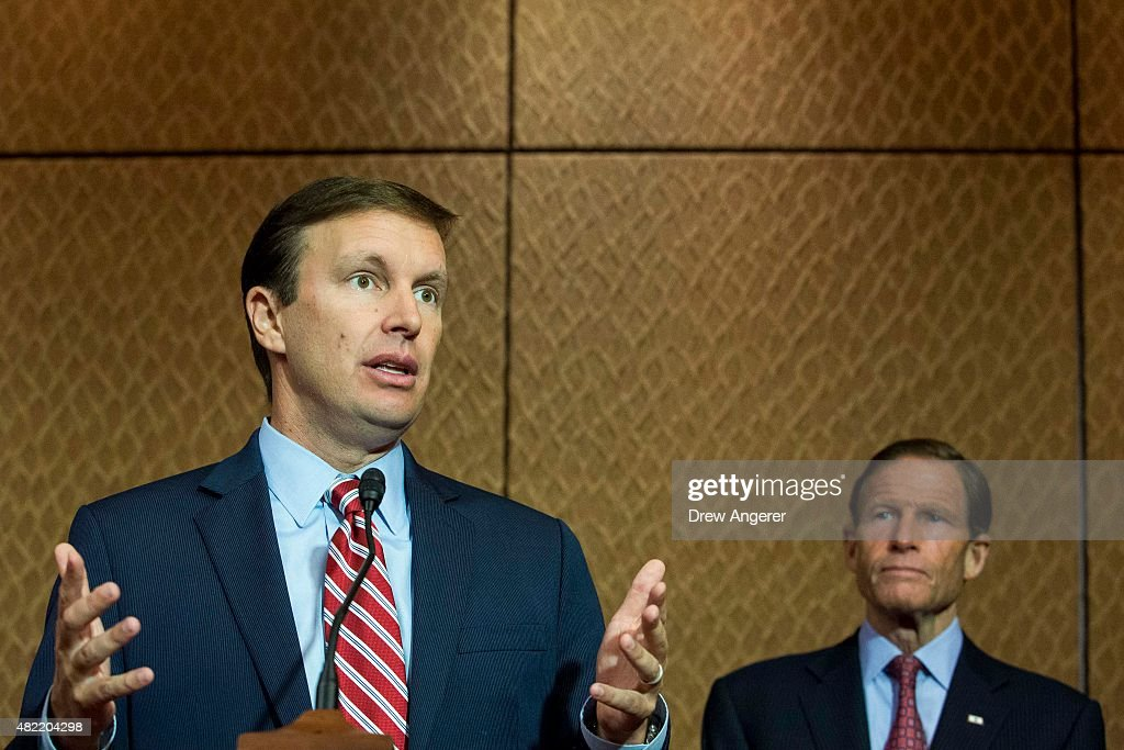L to R, Sen. <a gi-track='captionPersonalityLinkClicked' href=/galleries/search?phrase=Chris+Murphy+-+Politico&family=editorial&specificpeople=12884903 ng-click='$event.stopPropagation()'>Chris Murphy</a> (D-CT) speaks as Sen. <a gi-track='captionPersonalityLinkClicked' href=/galleries/search?phrase=Richard+Blumenthal&family=editorial&specificpeople=1036916 ng-click='$event.stopPropagation()'>Richard Blumenthal</a> (D-CT) looks on during an event hosted by 'Everytown for Gun Safety' and 'Moms Demand Action for Gun Sense in America,' on Capitol Hill, July 28, 2015 in Washington, DC. Both groups who hosted the event are urging Congress to discuss potential legislation to expand background checks on gun sales.