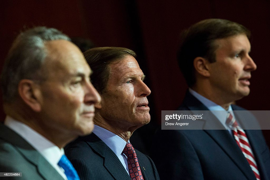 L to R, Sen. Chuck Schumer (D-NY), Sen. <a gi-track='captionPersonalityLinkClicked' href=/galleries/search?phrase=Richard+Blumenthal&family=editorial&specificpeople=1036916 ng-click='$event.stopPropagation()'>Richard Blumenthal</a> (D-CT) and Sen. <a gi-track='captionPersonalityLinkClicked' href=/galleries/search?phrase=Chris+Murphy+-+Pol%C3%ADtico&family=editorial&specificpeople=12884903 ng-click='$event.stopPropagation()'>Chris Murphy</a> (D-CT) take questions from the press during an event hosted by 'Everytown for Gun Safety' and 'Moms Demand Action for Gun Sense in America,' on Capitol Hill, July 28, 2015 in Washington, DC. Both groups who hosted the event are urging Congress to discuss potential legislation to expand background checks on gun sales.