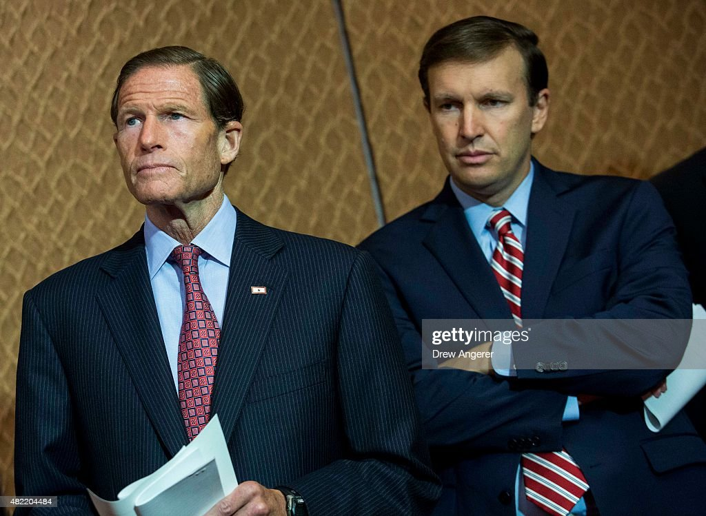 L to R, Sen. <a gi-track='captionPersonalityLinkClicked' href=/galleries/search?phrase=Richard+Blumenthal&family=editorial&specificpeople=1036916 ng-click='$event.stopPropagation()'>Richard Blumenthal</a> (D-CT) and Sen. <a gi-track='captionPersonalityLinkClicked' href=/galleries/search?phrase=Chris+Murphy+-+Pol%C3%ADtico&family=editorial&specificpeople=12884903 ng-click='$event.stopPropagation()'>Chris Murphy</a> (D-CT) wait to speak during an event hosted by 'Everytown for Gun Safety' and 'Moms Demand Action for Gun Sense in America,' on Capitol Hill, July 28, 2015 in Washington, DC. Both groups who hosted the event are urging Congress to discuss potential legislation to expand background checks on gun sales.