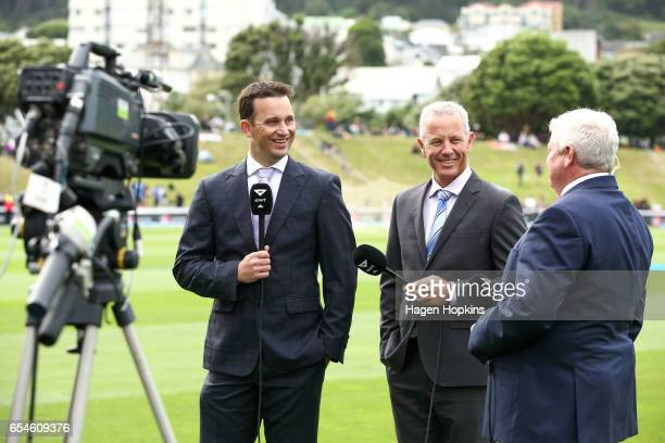 L to R Sky Television presenters and former New Zealand international cricketers Shane Bond Mark Richardson and Ian Smith talk during day three of...