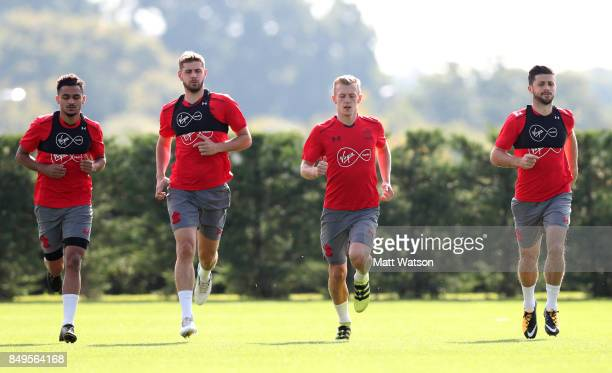 L to R Sofiane Boufal Jack Stephens James WardProwse and Shane Long during a Southampton FC training session at the Staplewood Campus on September 19...