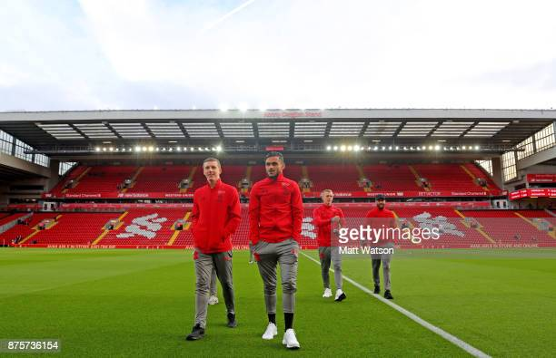 L to R Southampton's Matt Targett Sofiane Boufal James WardProwse and Nathan Redmond ahead of the Premier League match between Liverpool and...