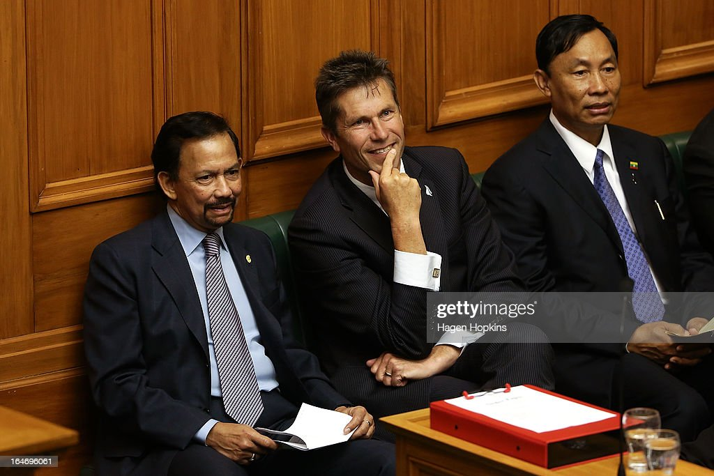 L to R, Sultan of Brunei Darussalam, His Majesty Hassanal Bolkiah observes question time with MP Chris Tremain and Myanmar Speaker of Parliament Thura U Shwe Mann in the House of Representatives during a visit to Parliament on March 27, 2013 in Wellington, New Zealand. The Sultan of Brunei is being hosted in New Zealand for an official visit over four days to strengthen ties between the two countries ahead of the Association of South East Asian Nations which is being hosted by Brunei later this year.