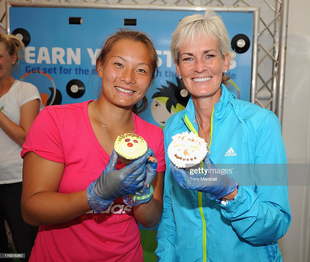 L to R, Tara Moore of Great Britain and <a gi-track='captionPersonalityLinkClicked' href=/galleries/search?phrase=Judy+Murray&family=editorial&specificpeople=582324 ng-click='$event.stopPropagation()'>Judy Murray</a> with their cup cakes that they made at a cup cake making demonstartion during the AEGON Classic Tennis Tournament at Edgbaston Priory Club on June 12, 2013 in Birmingham, England.