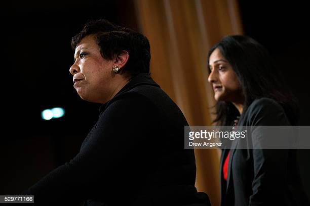 L to R US Attorney General Loretta Lynch and Principal Deputy Assistant Attorney General Vanita Gupta head of the Justice Department��s Civil Rights...