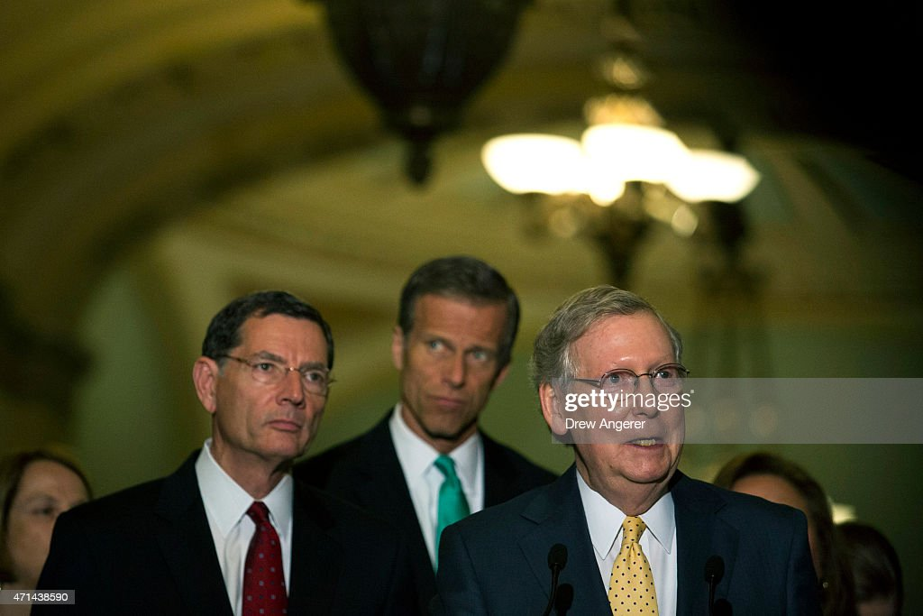 L to R, U.S. Sen. John Barrasso (R-WY), U.S. Sen. John Thune (R-SD), and Senate Majority Leader Mitch McConnell (R-KY) speak to the media during a news conference after a policy meeting with Senate Republicans, on Capitol Hill, April 28, 2015 in Washington, DC. The Senate began debate on Tuesday on legislation granting Congress the ability to review and possibly reject any nuclear deal the United States makes with Iran.