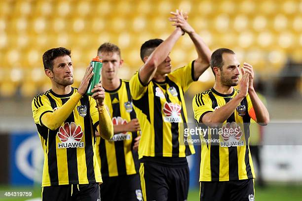 L to R Vince Lia Luke Adams Michael Boxall and Andrew Durante of the Phoenix thank the crowd after the final whistle during the round 27 ALeague...