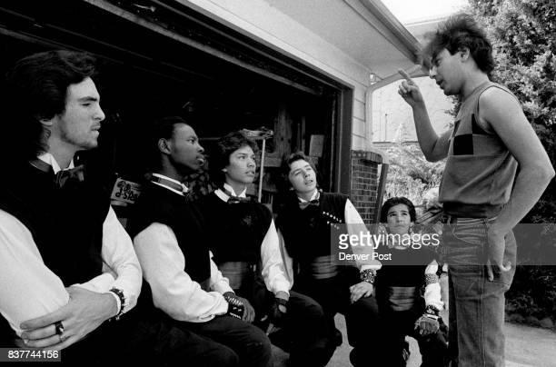 MAY 2 1984 JUN 6 1984 1 to r Wayne Quintana Eugene Williams Matt Bobian Sonny Trujillo Steve Roybal and Choriagrapher Steven P Roybal discuss a...