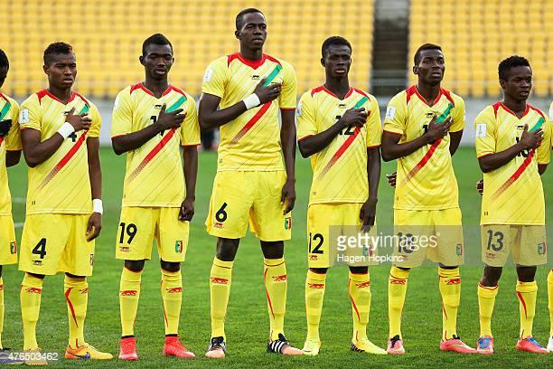 L to R Youssouf Kone of Mali of Mali Adama Traore Hamidou Maiga Souleymane Coulibaly Dieudonne Gbakle and Aboubacar Doumbia of Mali line up for the...