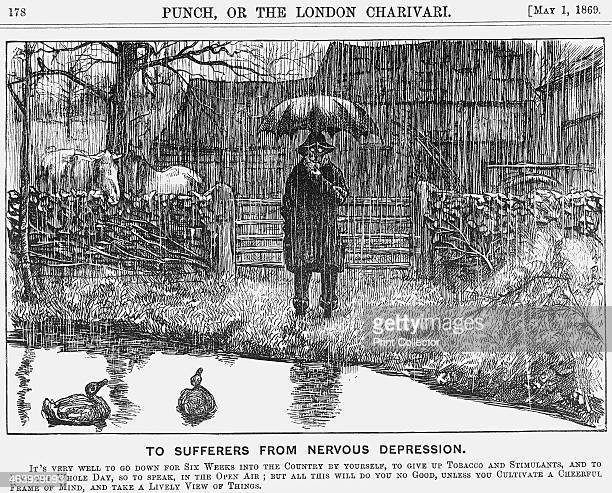 'To Sufferers from Nervous Depression' 1869 A cartoon depicting the joys of country life and clean living From Punch or the London Charivari May 1...